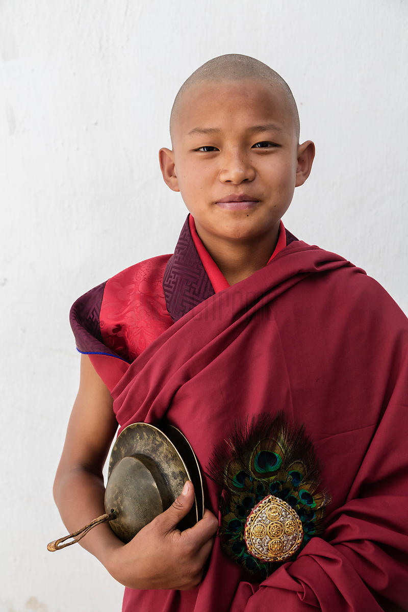 Portrait of a Young Monk at Punakha Domche