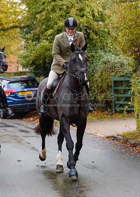 Alexander Tordoff leaving the meet. The Cottesmore Hunt at Braunston