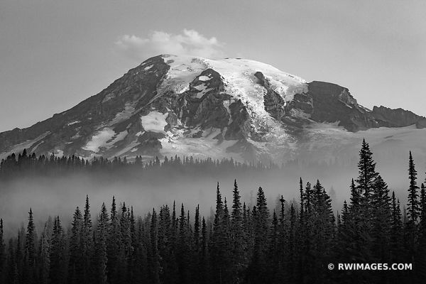 MOUNT RAINIER NATIONAL PARK WASHINGTON STATE BLACK AND WHITE