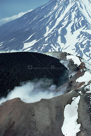 Looking down into smoking crater of volcano, Kamchatka, Russia