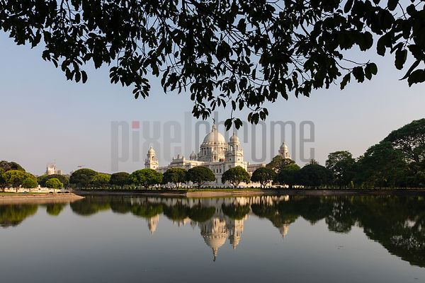 View of the Victoria Memorial From the Reflecting Pool in the NW Corner of the Park