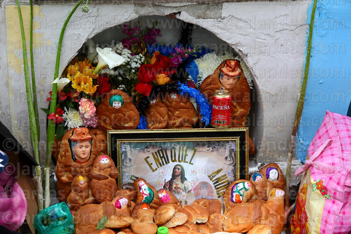 Detail of tomb decorated with bread offerings, Todos Santos festival, La Paz, Bolivia