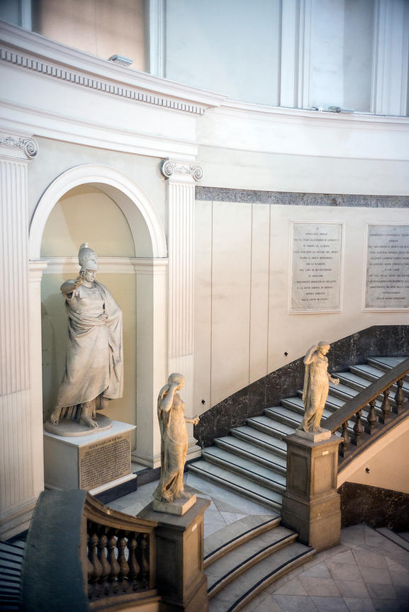 The grand staircase in the National Archaeological Museum in Naples