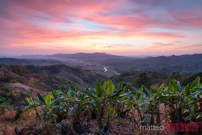Sunrise over the valleys of Chin State, Myanmar