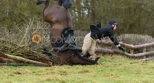 jumping a fence next to Orton Park Wood - The Cottesmore at Bleak House 17/1