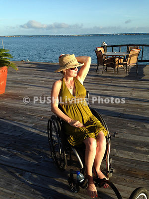 Woman in a wheelchair on holiday in Belize