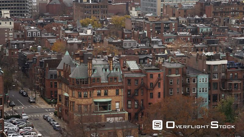Layered row houses in Boston's Back Bay area.