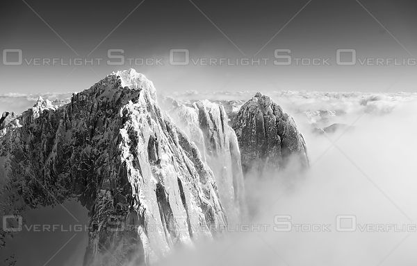Black and White of Howser Towers Bugaboo Provincial Park BC Canada