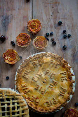 Trio of Pies, Fruit Pie, Lattice Pie and Apple Petal Single Pies