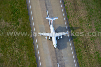 Aerial view of plane at City Airport, London