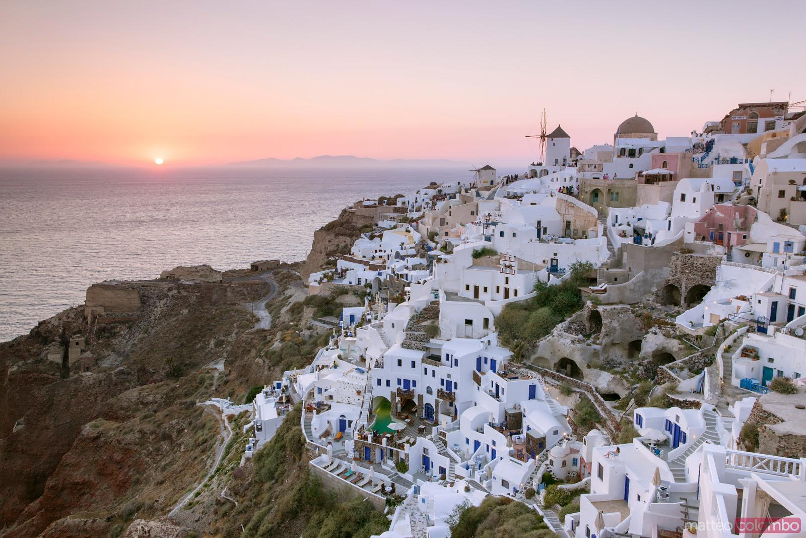 Beautiful sunset over Oia and the sea, Santorini, Greece