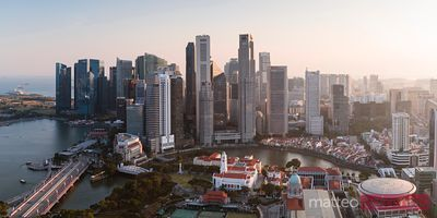 Panoramic view of downtown at sunset, Singapore