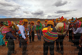 Indigenous musicians playing Pinquillos del Anata or Carnival Flutes, Viluyo, Potosí Department, Bolivia
