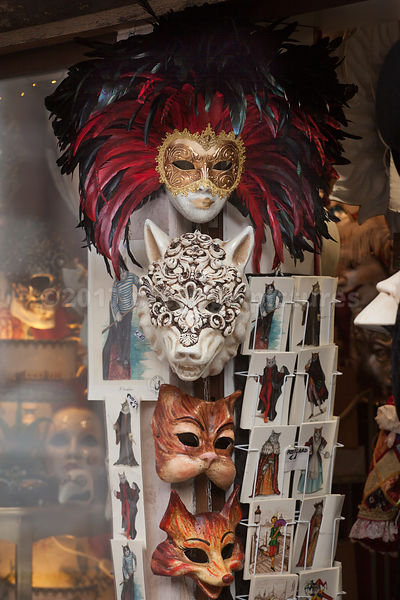 Animal Masks for sale in a Shop in Venice