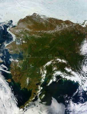 EARTH USA Alaska -- Alaska, obscuring most of the state's 6,640 miles (10,690 kilometers) of coastline and 586,000 square m...