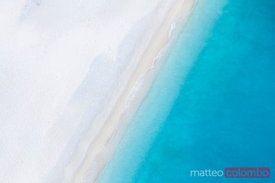Aerial view of deserted sandy beach. Zakynthos, Greek Islands, Greece