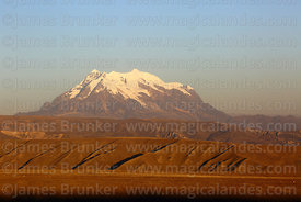 Mt Illimani and altiplano in late afternoon, Cordillera Real, Bolivia