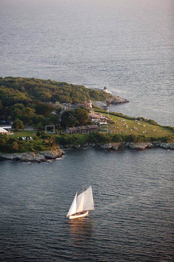 Aerial view of Castle Hill with yacht, Newport, Rhode Island, USA, July 2009.