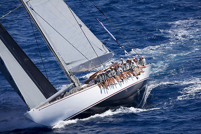 Crew hiking-out on board J-class yacht 'Ranger' on the second day of the Superyacht Cup, Palma, Majorca, Spain, June 2013. Al...