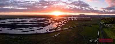 Aerial panoramic of braided river at sunset, Iceland