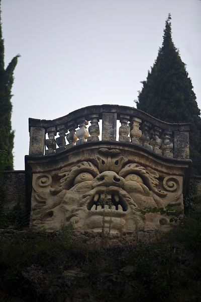 Italy - Verona - The terrace (belvedere) of the Giardini Giusti showing a 'mascherone' (grotesque mask) that originally emitt...