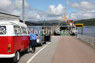 Queue of vehicles waiting to board CalMac ferry Loch Fine at Lochaline, Morvern, Scotland