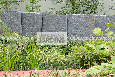 Contemporary garden, Stone, Low wall stone, Digital