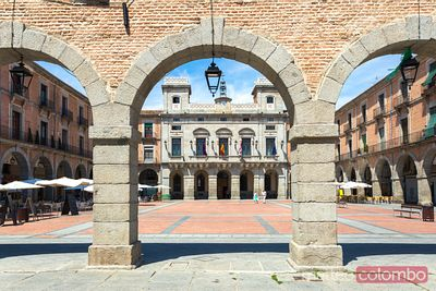 Plaza Mercado Chico with city hall, Avila, Spain