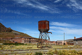Water tower of railway station, Comanche, La Paz Department, Bolivia