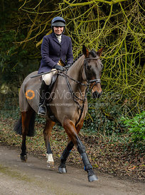 Phoebe Buckley leaving the Cottesmore Hunt meet at Little Dalby Hall
