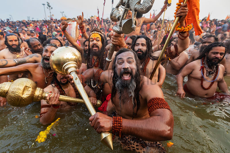 Naga Babas from Juna Akhara Enter the Sangam for the Royal Dip
