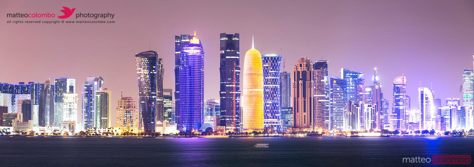 Doha cityscape at night, Qatar