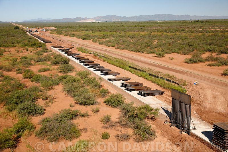 Aerial Photograph of The Wall border fence between Mexico and the United States of America