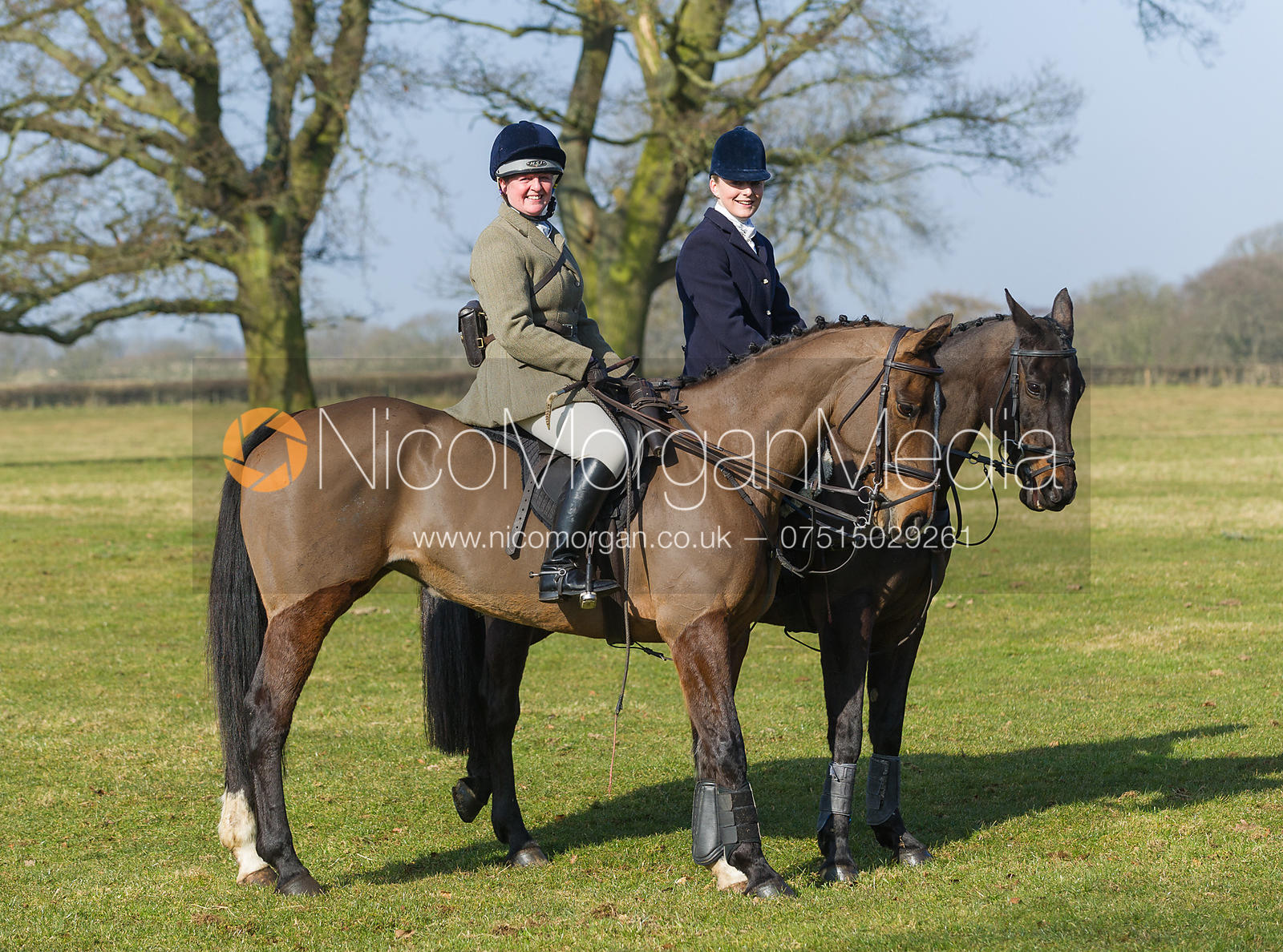Caroline Harrison and Helen Lovegrove at the meet at Goadby Marwood Hall