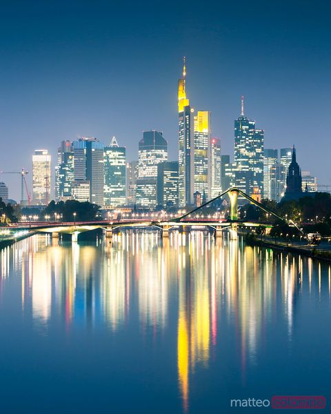 Frankfurt skyline and river at night, Hesse, Germany