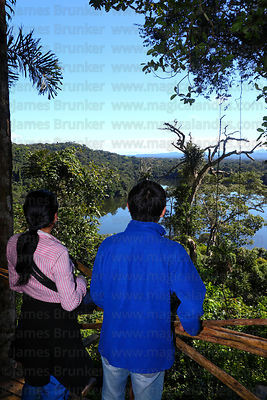 Hispanic tourists looking at view over Lake Chalalan , Madidi National Park , Bolivia