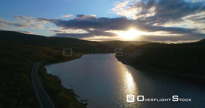 Mountain River, Aerial Slow Pan View of Tenojoki River, at the Border Between Norway and Utsjoki Town, on a Sunny Autumn Even...