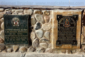Plaques honouring soldiers who died on monument at site of the Battle of Alto de la Alianza , near Tacna , Peru