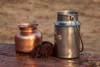 Metal vessels for drinking water, Varanasi, India.