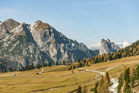 Hiking area of the Fanes Sennes Prags Nature Park near Schluderbach Carbonin in the South Tyrol, Italy.