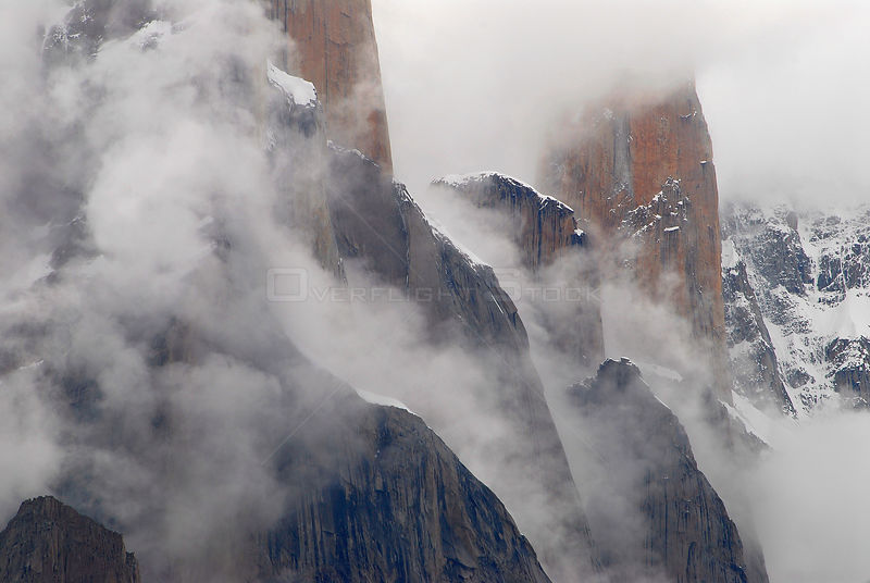 Trango Towers, with the Nameless Tower (6,239m) in the background, seem from the Baltoro Glacier, Central Karakoram National ...