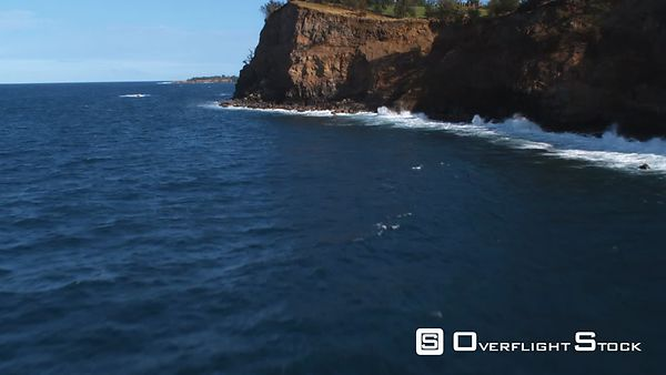 Flying low and close to cliff wall on Hawaii's North Shore.