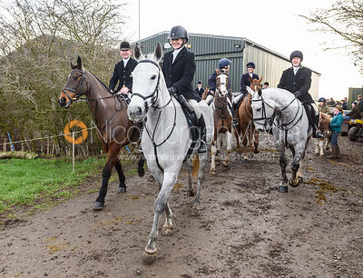 Leaving the meet. The Cottesmore Hunt at Launde Park Farm
