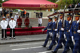 Members of the Bolivian air force parade past the remains of Eduardo Abaroa, Plaza Avaroa, La Paz, Bolivia