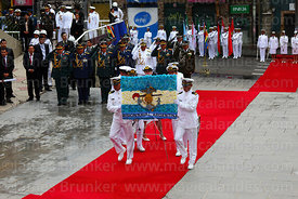 Members of the Argentine Naval Mission present a floral tribute at the start of official events for Dia del Mar / Day of the ...