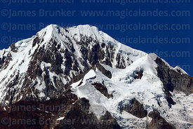 Close up of glaciers and cornices of Mt Illampu seen from north west, Cordillera Real, Bolivia