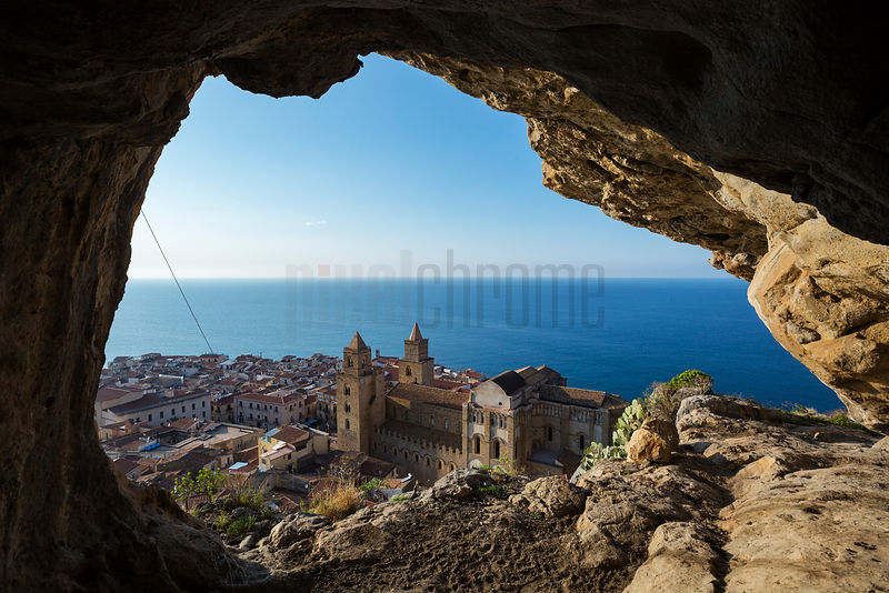 Elevated View of the town of Cefalu from a clifftop cave