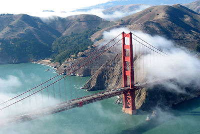 Autumn fog surrounds the Golden Gate Bridge, San Francisco Bay, California, October 2005.