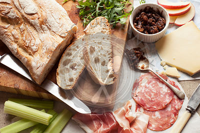 Ploughman's Lunch with bread, cheese and cold meats