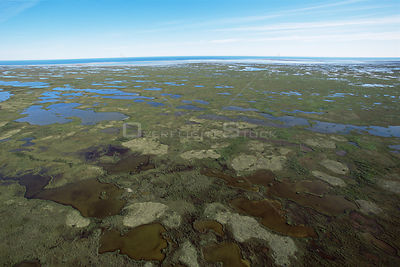 Aerial view of tundra in autumn with no ice yet, prime Polar bear habitat, Hudson Bay, Manitoba, Canada